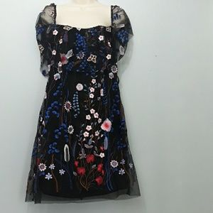 Gianni Bini Black Sheer Embroidered Floral Dress